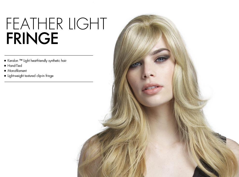 Feather Light Fringe by Tabatha Coffey Hair Extensions. Light-weight clip-in fringe bang, perfect for fine hair.