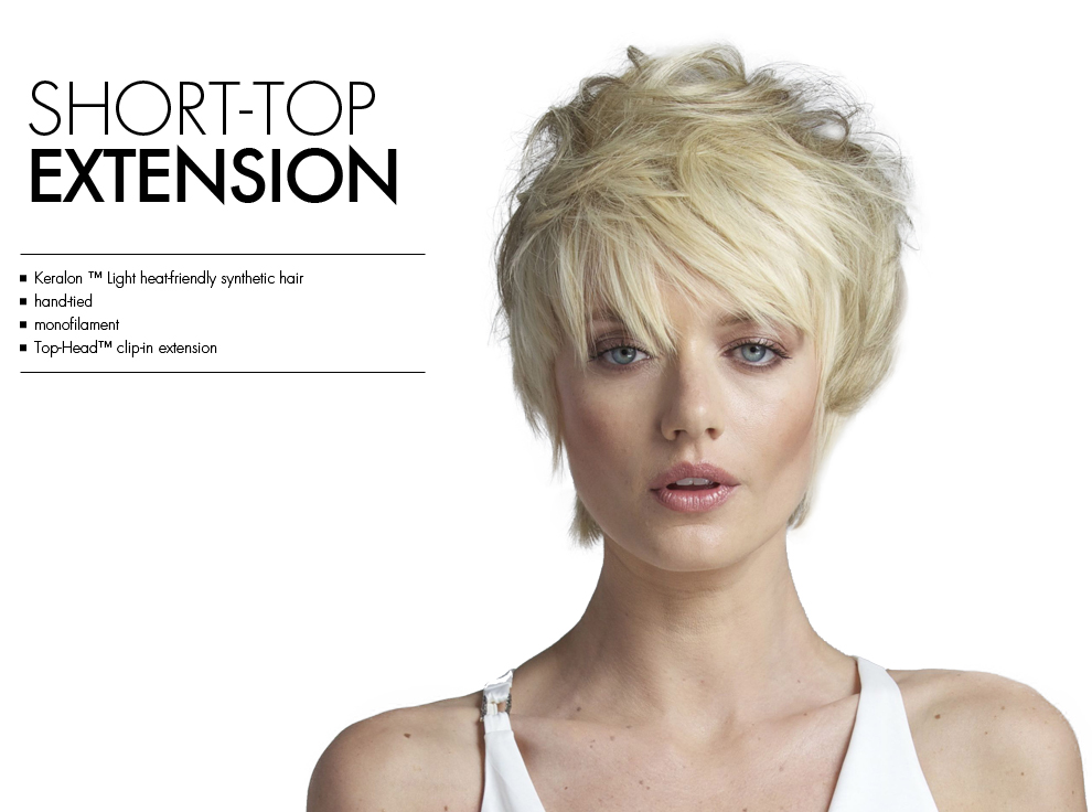 Short Top Extension by Tabatha Coffey Hair Extensions. Top of the head clip in hairpiece extensions for added volume for thinning hair.