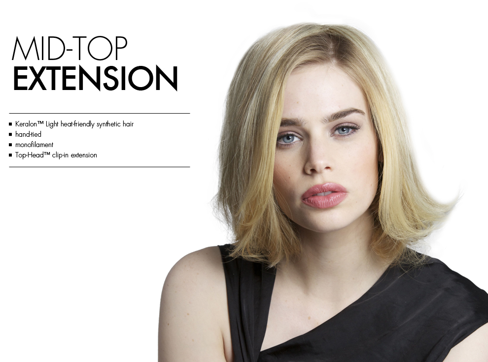 Mid Top Extension by Tabatha Coffey Hair Extensions. Top of the head clip in hairpiece extensions for added volume for midlenght or medium length thinning hair.