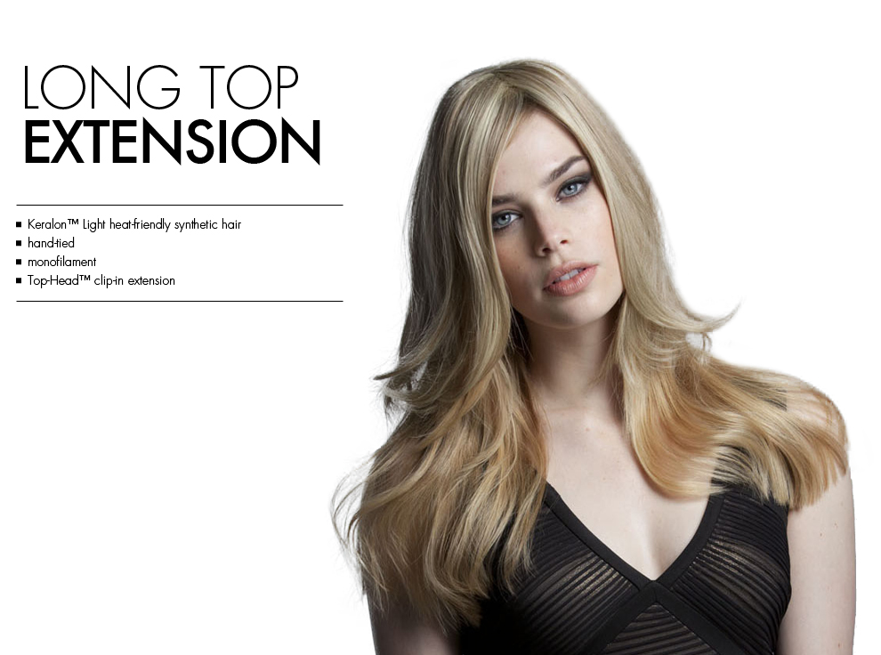 Long Top Extension by Tabatha Coffey Hair Extensions. Top of the head clip in hairpiece extensions for extra added volume for longer thinning hair.